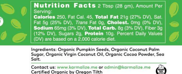 Organic Pumpkin Seed Butter - label